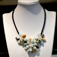 fashion handmade jewelry Natural rainbow amazonite stone pearl woven leather flower necklace