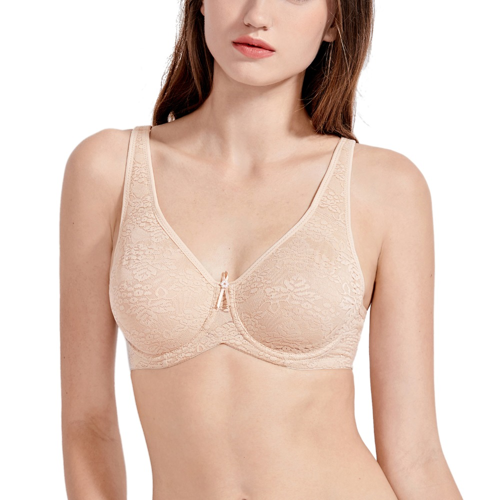 Women's Smooth Full Coverage Underwire Non Padded Lace Bra Plus Size