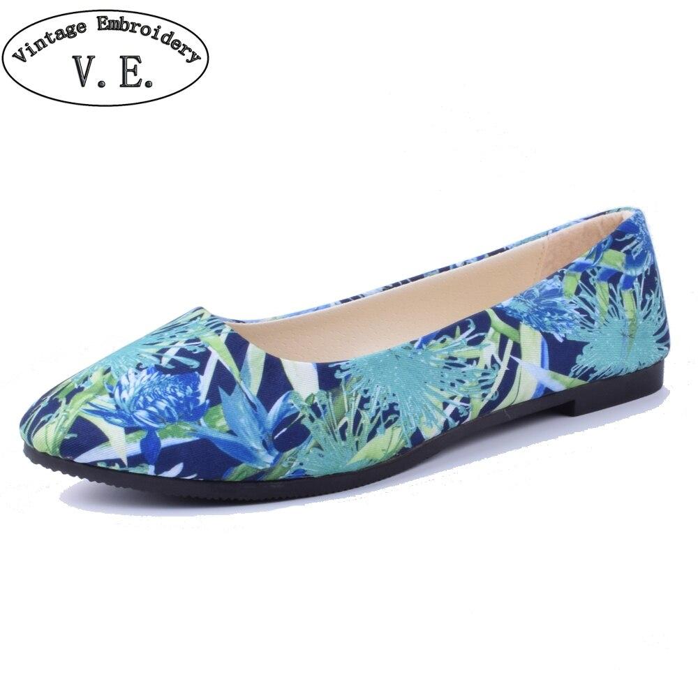 2018 Neue Frühling Sommer Schuhe Frau Blume Drucken Wohnungen Frauen Müßiggänger Damen Schuhe Zapatos Mujer Plus Größe 42 GroßE Auswahl;