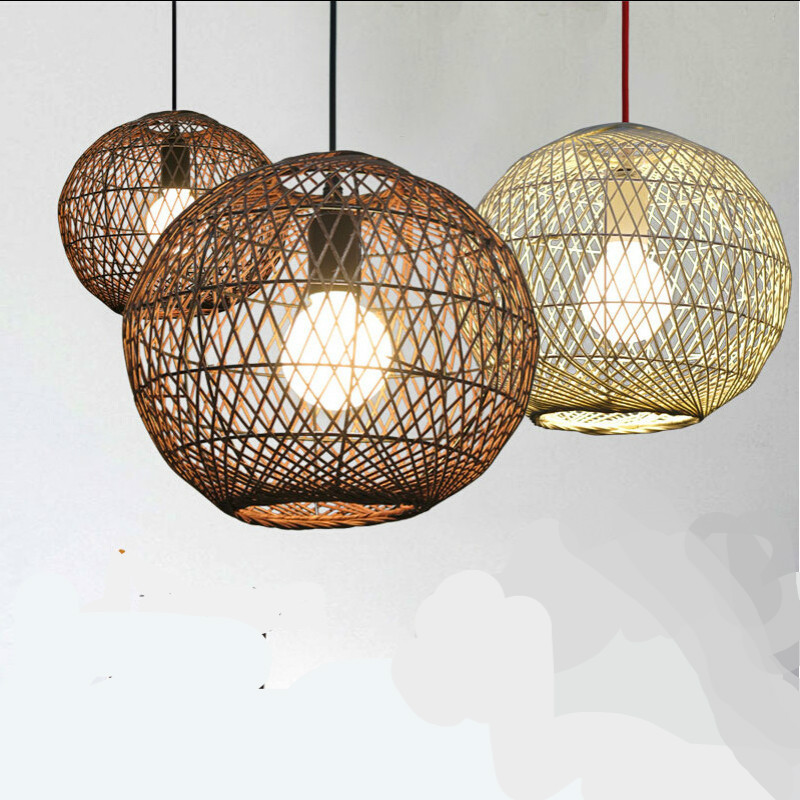 New Southeast Asian Hand Knitted Wicker Rattan Led E27 Pendant Light For Dining Room Living
