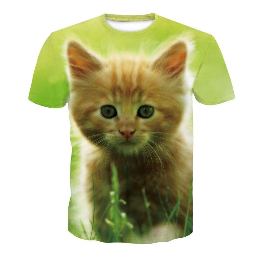 Summer Men And Women Casual Cute Cat Short Sleeve Print T Shirt, Fashion Lovers Street Wear Half Sleeve Thin T Shirt