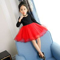 Autumn Winter Spring Kids Girls Long Sleeve Tutu Dress Girl Lace Party Dresses Children Velvet Princess