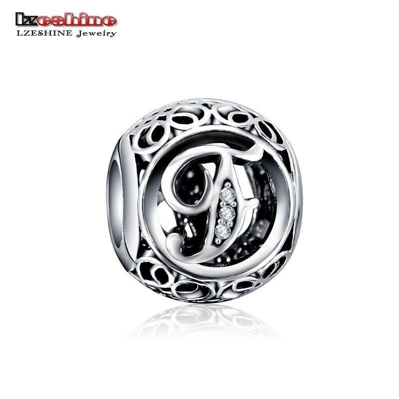LZESHINE 100% Authentic Sterling Silver 925 Crystal Alphabet Letter A-Z Bead Charm Fit Original Pandora Charm Bracelet PSMB0634 7