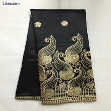 2018George fabric black gold indian george wrappers african Sequins george  lace fabric 5yards lot for sewing party dress S83-24 1eb867a58519