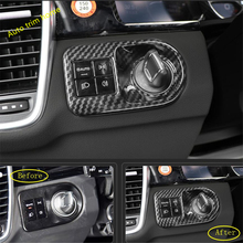 Lapetus Head Lights Lamps Switch Button Decoration Panel Cover Trim For Porsche Cayenne 2018 2019 / Red / Carbon Fiber Look lapetus auto styling matte carbon fiber style head headlamp light lamp switch button cover trim fit for toyota camry 2018 2019