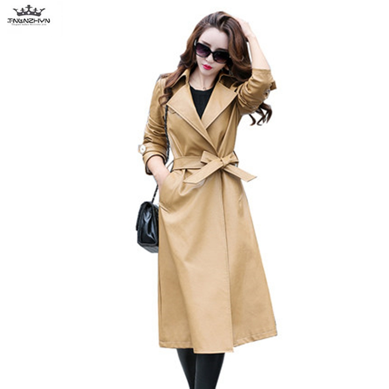 TNLNZHYN 2017 Spring Autumn Women Long Leather Jacket Fashion Big Yards PU Leather Coat Belted Slim Leather Trench Coat SK281 одежда на маленьких мальчиков