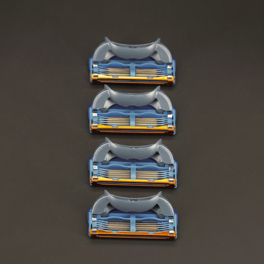 Hight Quality 4pcs/pack 5+1 Layers Men's Shaving Razor Blades Compatible For Gillettee Fusione Cassette Shaving
