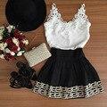 Vestido de verão 2016 Retro Laço chiffon patchwork v neck mini vestidos para as mulheres plus size preto branco sem mangas Sexy Vestido clube