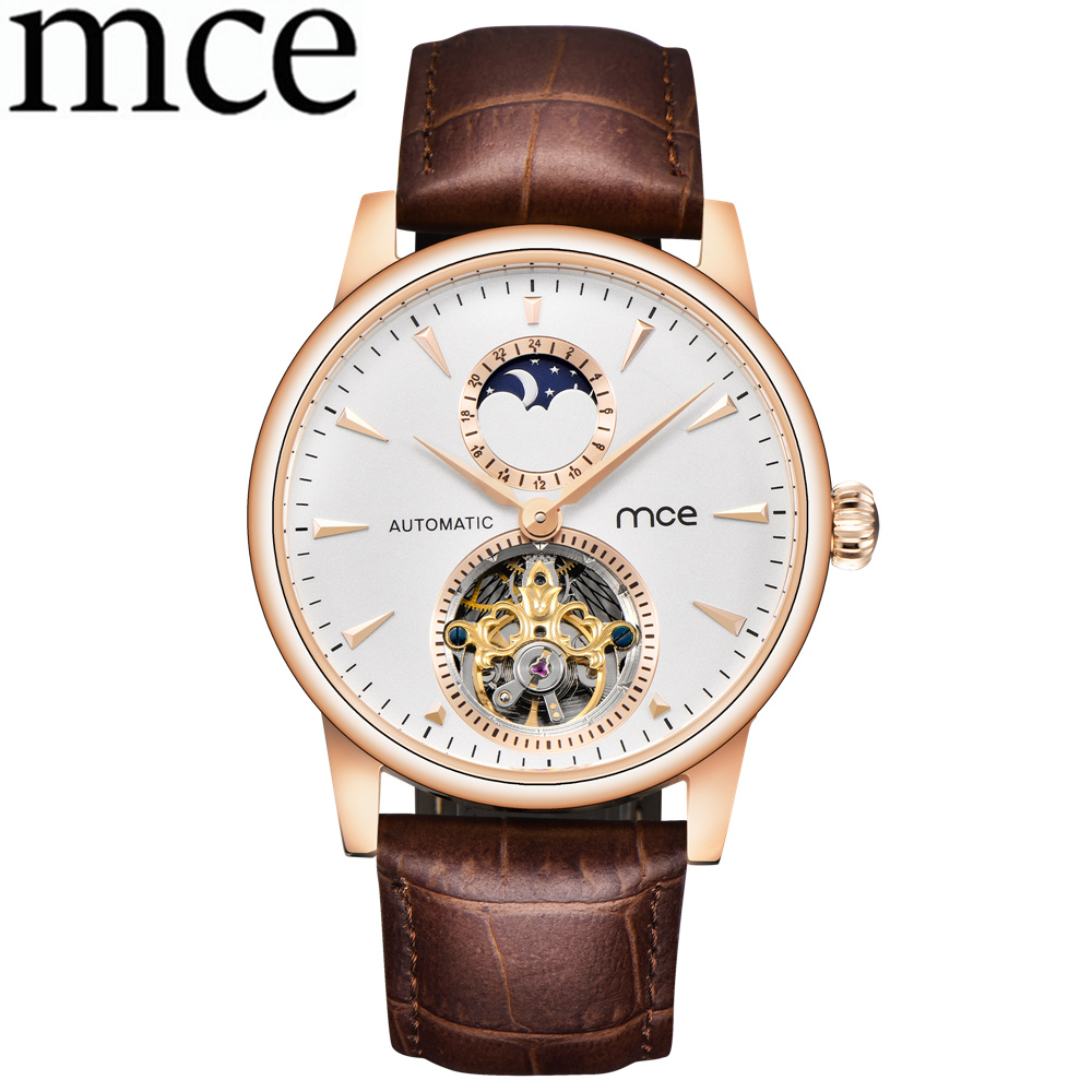лучшая цена MCE Casual Men Skeleton Automatic Mechanical Watches Men Business Watch Leather Band Men Wrist Watch Relogio Masculino