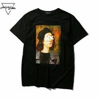 Aelfric Eden Painting Print Funny T-shirt Men's Hip Hop Skateboard Loose T Shirt Men Women Casual Tshirt Wild Cotton Tops Tee