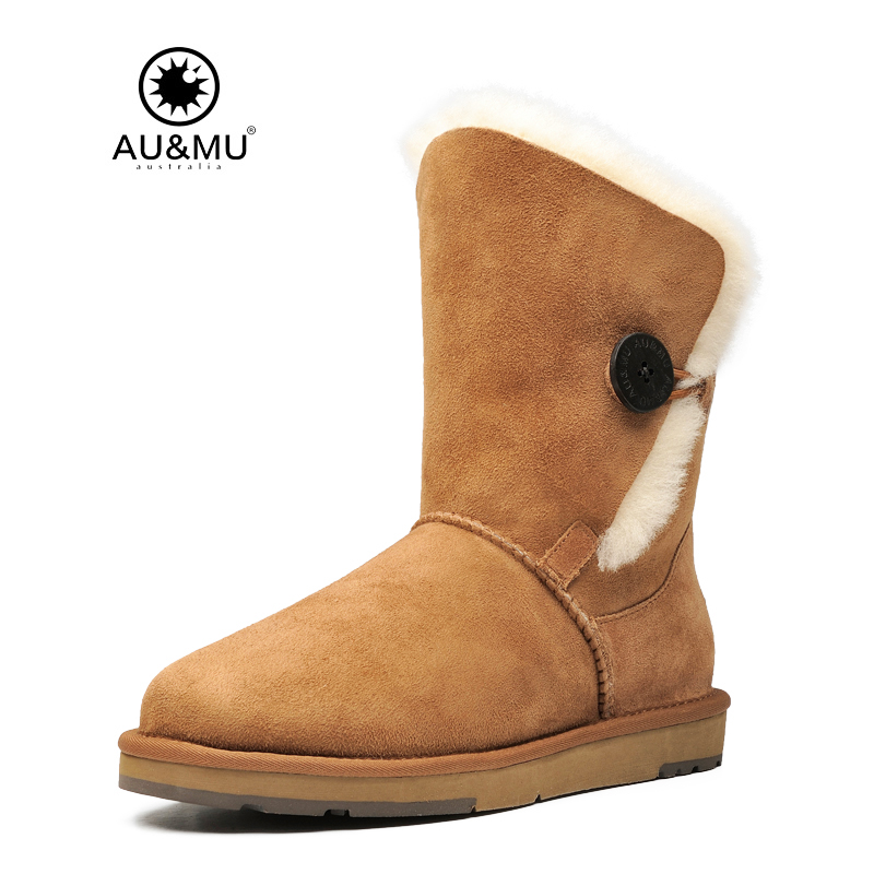 2017 AUMU Australia Classic Fur Thick Platform Buttons Round Toe Rubber Soles Mid-calf Snow Winter Boots UG N357 2017 aumu australia fashion mini