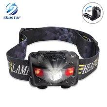 Миниатюрный налобный фонарь, 4 режима освещения, водонепроницаемый головной фсветильник рь R3 + 2 светодиода, суперъяркий, с креплением на голову, с 3 батареями ААА