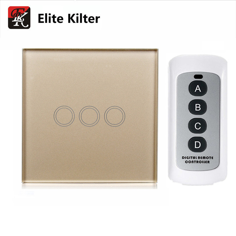 EU Standard touch Switch+Single Fire, 3 Gang 1 Way, Golden Color Glass Panel, Wall Light Remote Control Touch Switch smart home eu touch switch wireless remote control wall touch switch 3 gang 1 way white crystal glass panel waterproof power