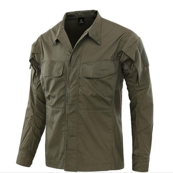 Полевая Боевая тренировочная тактическая рубашка Мужская Уличная походная клетчатая ткань износостойкая камуфляжная дышащая Военная Рубашка - Цвет: Green