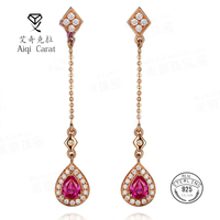 AIQICARAT Stud Earrings For Women Fine Jewelry Rose Gold Red Crystal Long Luxury For Wedding Engagement