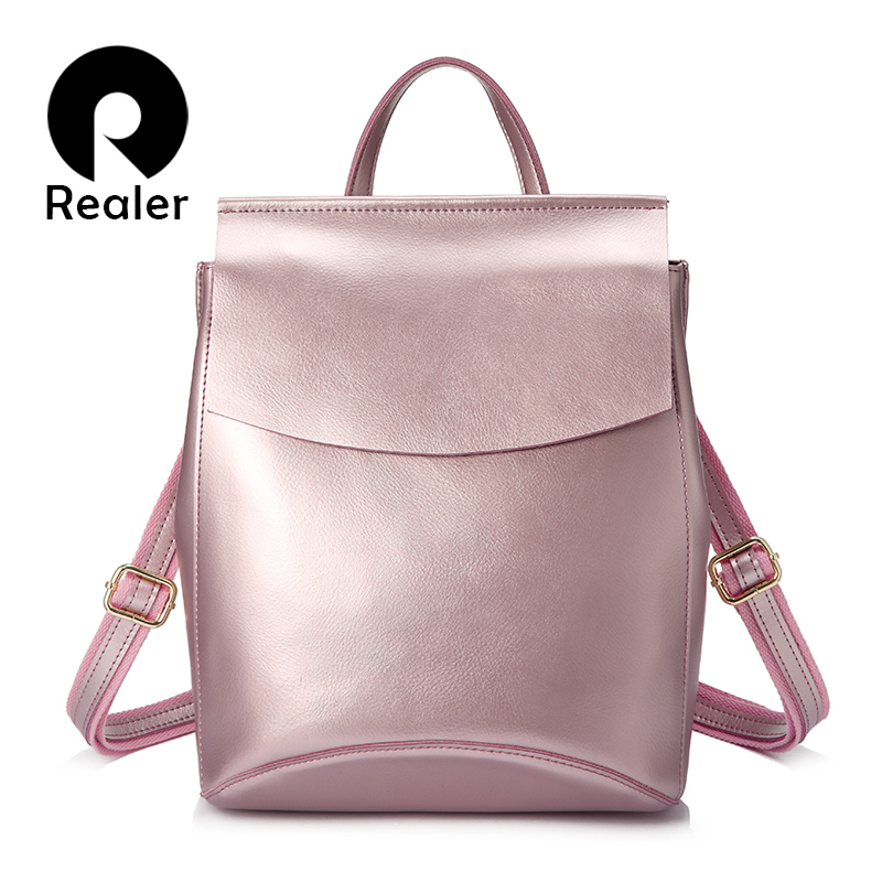 REALER women backpack split leather school bags for teenage girls high quality female multifunction travel backpacks