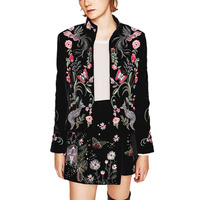 Women S Fashion Full Florals Embroidered Blazer Female Long Sleeve Stand Collar Velveteen Black Jackets Casaco