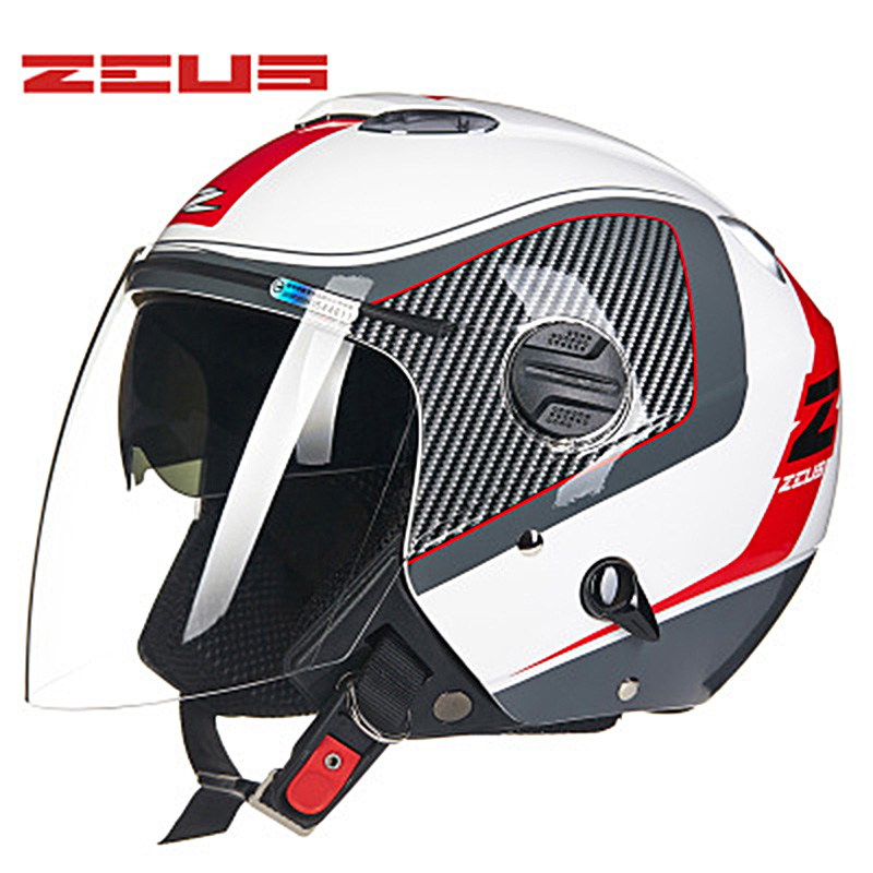ZEUS Half Face Motorcycle Helmets Unisex Double Lens Motorbike Helmet Electric Bicycle Helmets Sunscreen Seasons Safety Helmet все цены