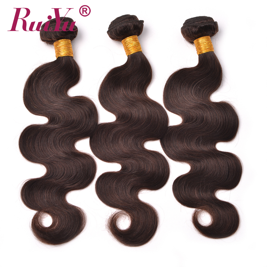 "RUIYU Dark Brown Bundles Peru Body Wave Hair Weaving Bundles Warna # 2 Non Remy Manusia Sambungan Rambut 1/3/4 Bundles 10 ""-24"""