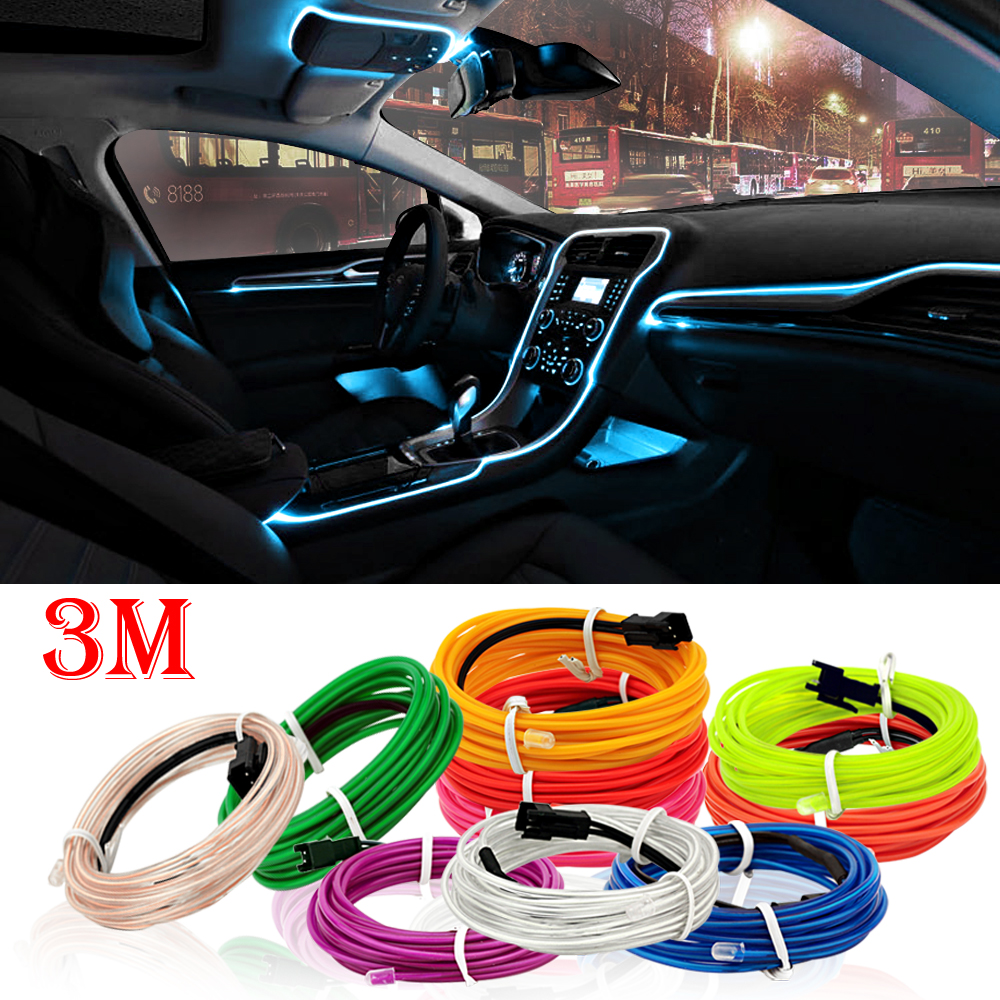 UGOOCA 3 Meters Car Interior Lighting Auto LED Strip Garland EL Wire Rope Tube Line Flexible Neon Light Auto Decorative Lights-in Decorative Lamp from Automobiles & Motorcycles