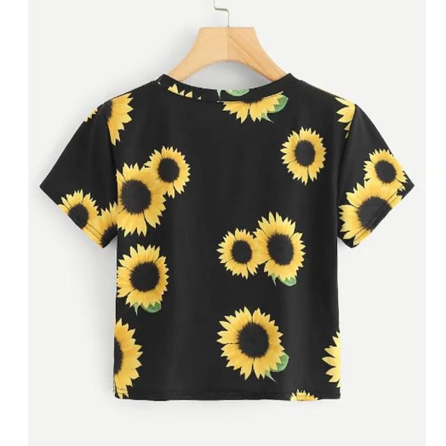 womens t shirts fashion t shirt women funny Fashion Womens Casual T-Shirt O-Neck Short Sleeve Sunflower Print Tops Tee