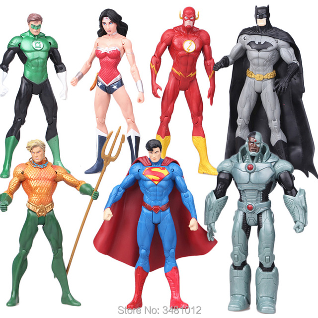c31e33ac7b Justice league Batman Green Lantern Flash Superman Aquaman Wonder Woman PVC  Action Figures Cyborg Figurines Dolls Kids Toys 7pcs