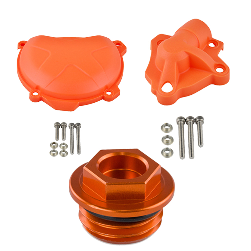 Water Pump Guard Protector Clutch Cover Oil Fuel Filler Cap For KTM 250 350 SXF EXCF XCF XCFW Freeride SIX DAYS SX-F EXC-F XCF-W