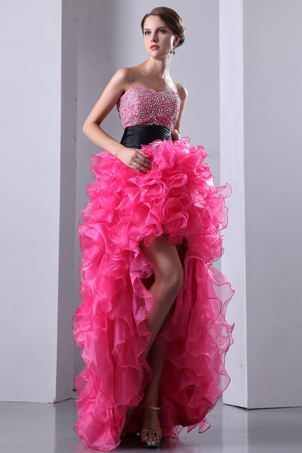 Short Front Long Back Fuchsia Sexy Fashion Crystal Beads Prom Dresses 2018 With Black Sash on Waist Real Photo