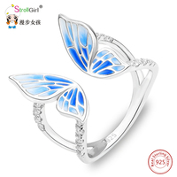 Strollgirl New Arrived 925 Sterling Silver Ring Blue Butterfly Adjustable Enamel Rings Fashion Jewelry For Women