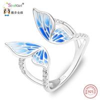 Strollgirl Neue Angekommene 925 Sterling Silber Ring Blau Schmetterling Einstellbar Emaille Ringe Modeschmuck Für Frauen Hochzeit 2017