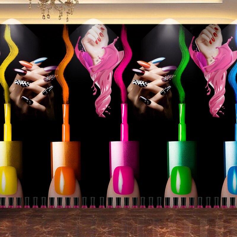 Free shipping custom wallpapers Creative Beauty Salon Nail Art wallpaper for walls 3 d theme buffet graffiti animation 3d 12 candy colors glass fragments shape nail art sequins decals diy beauty salon tip free shipping