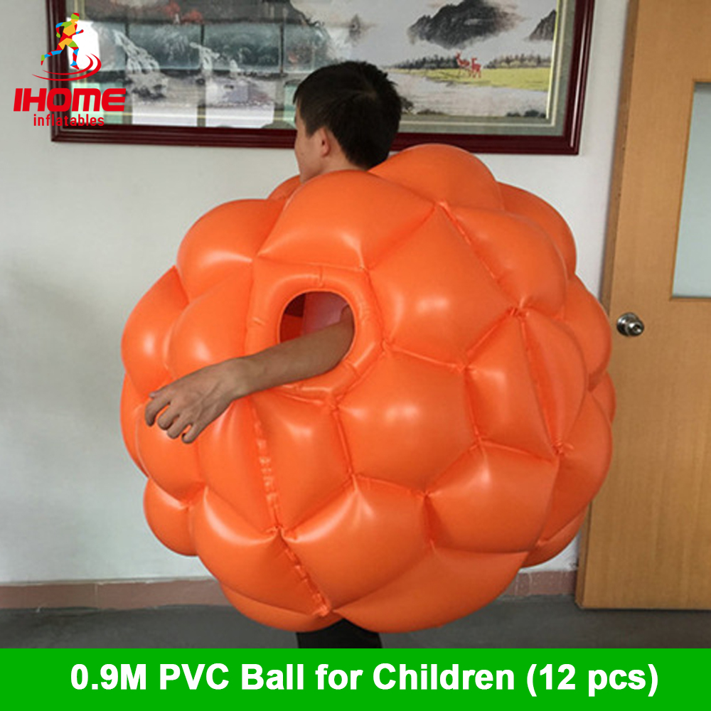 12pcs 0.9m PVC Inflatable Body Zorb Ball,Bumper Ball For Children  Bubble Ball Suit For Kids With Two Free Feet Pumps
