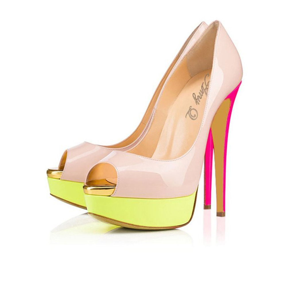 2016 Sweet Women Patchwork Patent Leather Skyhigh Party Shoes Colorful High Heel Evening Peep Toe Stiletto