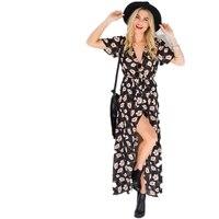 2018 Hot Sale Long Summer Beach Dress Women Sexy Deep V Floral Chiffon Maxi Dress Front