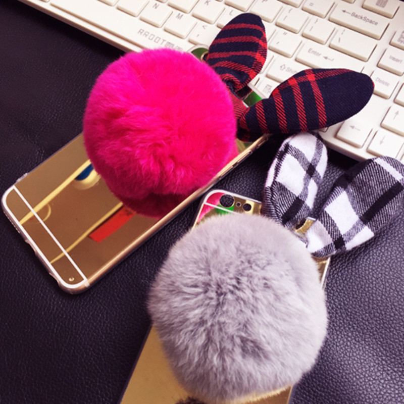 official photos 30479 4f78f US $4.98 |Cute Mirror Case For Iphone 7 7 Plush Real Rabbit Hair Pompom  Phone Cover Luxury Golden Mirror Bow Ear TPU Lovely Cover Caja-in Fitted  Cases ...