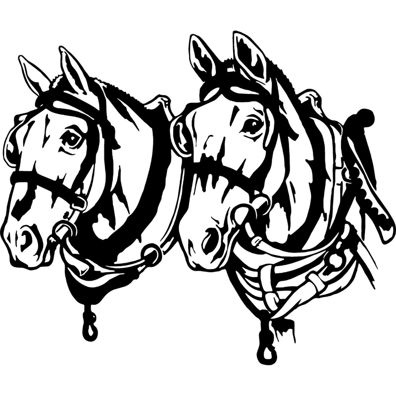 15.5cm*13cm Team Draft Work Mule Horse Rodeo Fashion Vinyl Decal Car Sticker Black/Silver S6-2805
