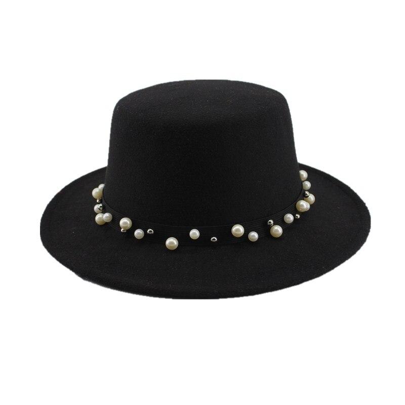 Seioum Black Wool Wide Brim Bowler Trilby Fedora Hat for Women Plain Flat  Lady Felt Hats Vintage European US 6 Colors -in Fedoras from Apparel  Accessories ... c89d92d2485c