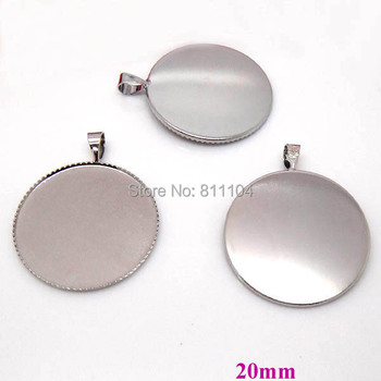 20mm New Imitation Rhodium tone Plated Copper Metal Blank Bases Round Bezel w/ a Bail Cabochon Settings Pendant Blank Wholesale