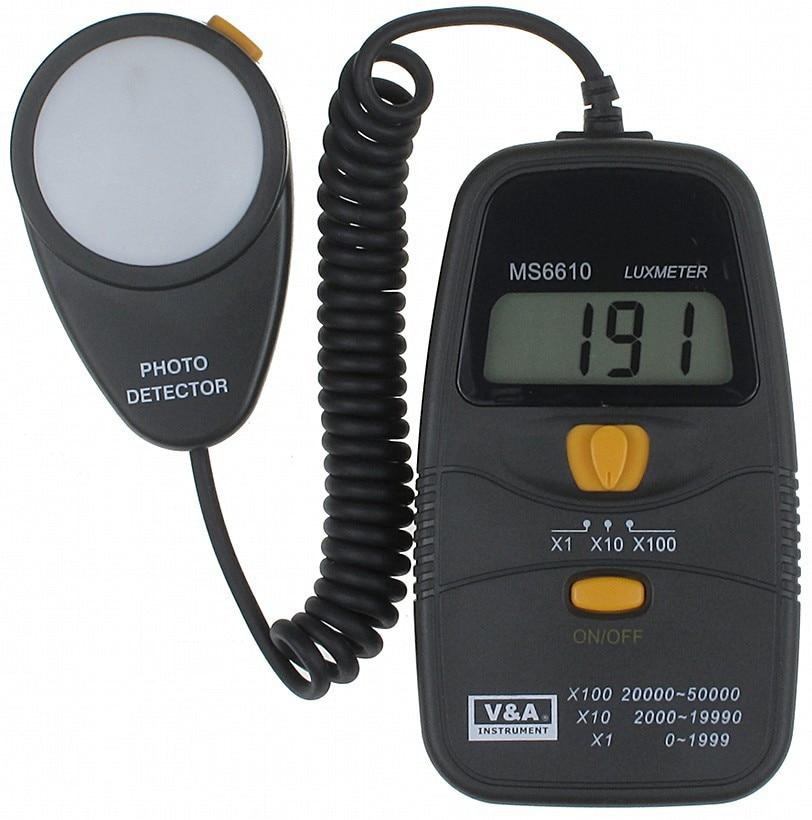 HOT MASTECH MS6610 Digital Lux Meter Light Meter Luxmeter 0~50000 LUX Illuminometer high quality uni t ut382 split light luxmeter meters 20 20000 lux lumen digital illuminometer usb transfer
