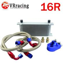 VR RACING-AN10 OIL COOLER KIT 16ROWS TRANSMISSION OIL COOLER SILVER+OIL FILTER  ADAPTER BLUE VR7016S+6723BS+2PCS
