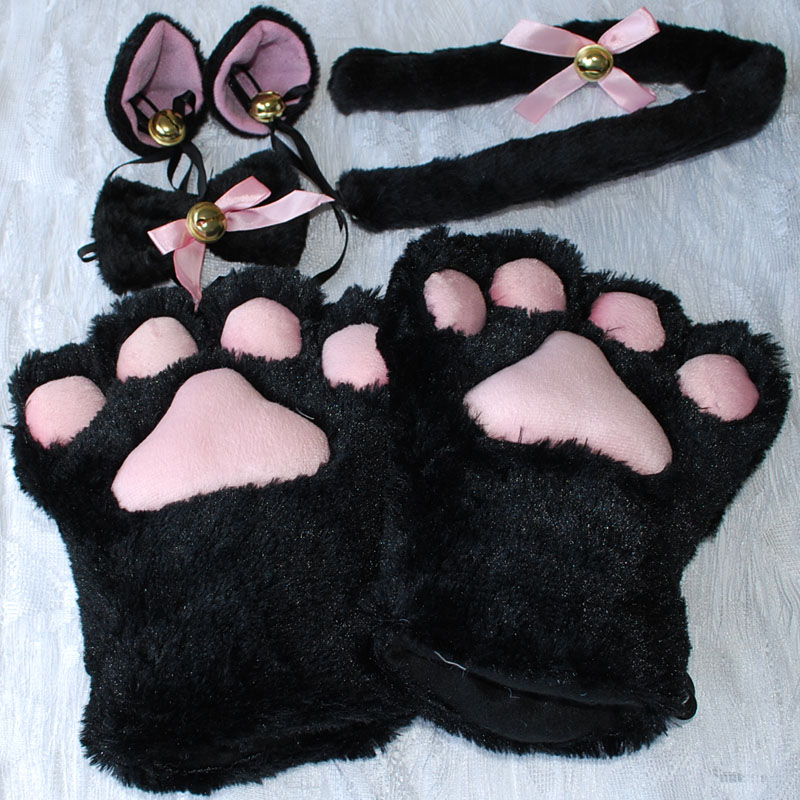 1set New Anime Cosplay Costume Sweet Cat Ears Plush Paw Claw Gloves