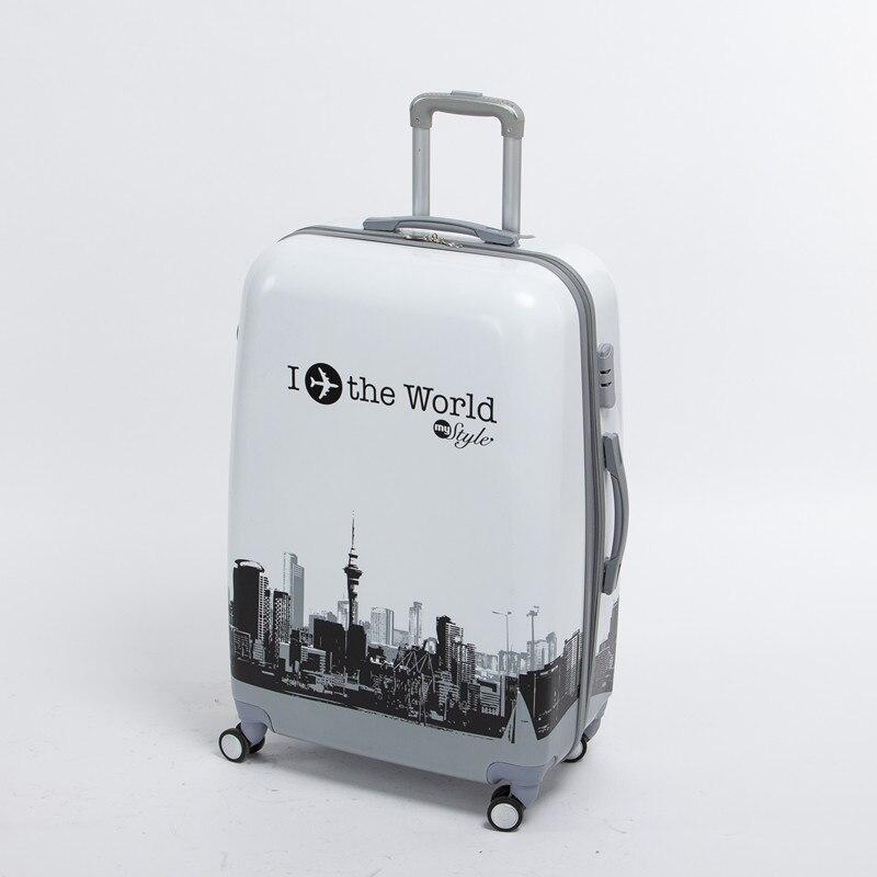 Оптовая продажа! мужской и Женский 24 дюймов PC World Travel багажные сумки на универсальные диски, высокое качество самолет печатных багажные сумк...