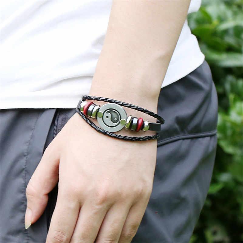 Projektant Tai Chi Yin Yang skórzana bransoletka mężczyźni Rock ręcznie pleciony przyjaźń nadgarstek mężczyzna antyczne biżuteria LB133