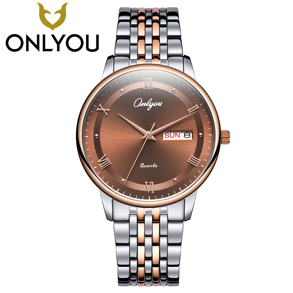 ONLYOU Top Brand Luxury Lovers Watches Men Women Business Fashion Quartz Watch Auto Date Waterproof Clock Wristwatch Wholesale onlyou brand lovers watch women men quartz genuine leather wrist watches fashion business female male clock with calendar 81092