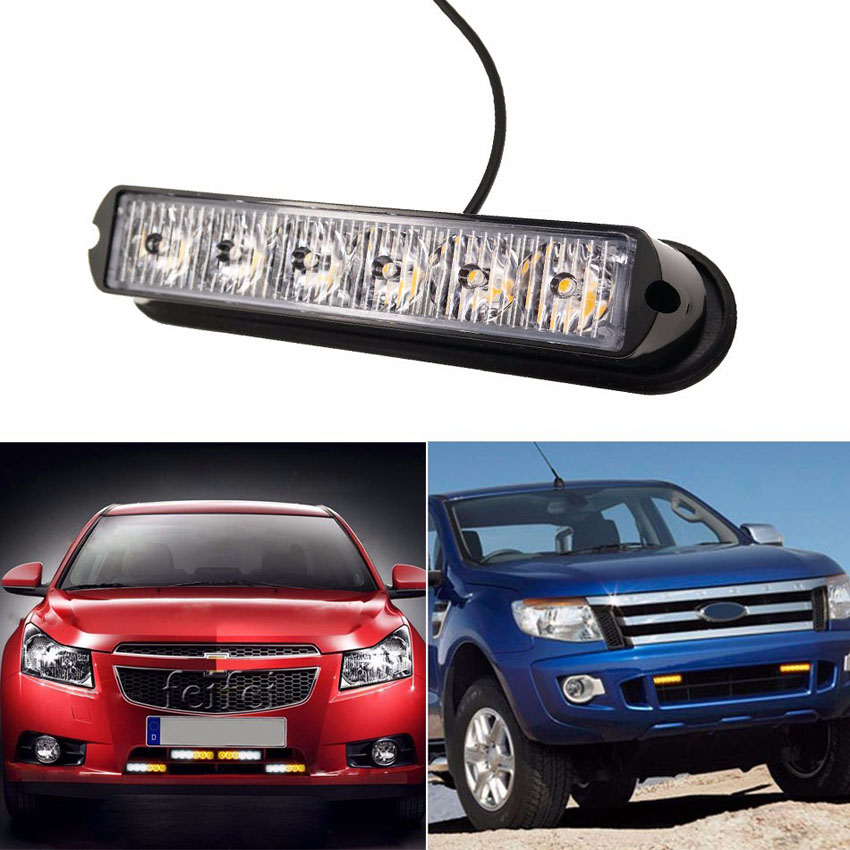 1pcs High Power 12V 24V 6 LED Waterproof Car Truck Emergency Strobe Flash Warning Light Amber Red Blue White 4 led 12 24v car strobe flash light white red amber light vehicle truck rear side light car emergency warning lamp drop shipping