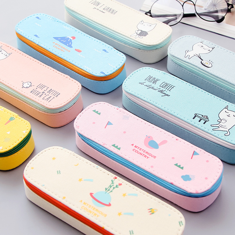 Cute Pencil Case for Girls and Boys Simple Creative Student Stationery Pencil Bag Canvas Large Capacity School Supply Pencil Box pencil case color simple love excellent pencil box creative student pencil case large capacity stationery storage box