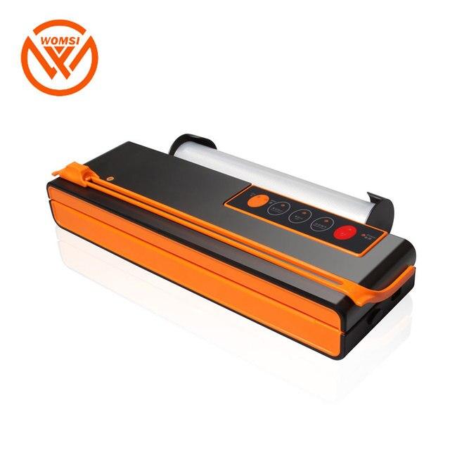 WOMSI Vacuum Packing Machine Mini Automatic Food Vacuum Sealer Own Cutting Knife Bag Slot Vacuum Packer Including 10Pcs Bags