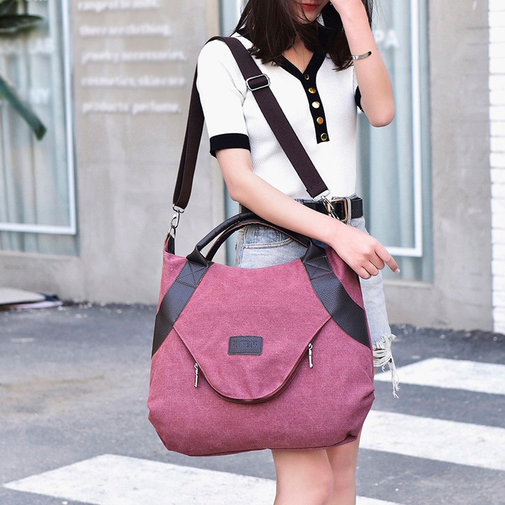 Women's Canvas Zipper Shoulder Bags With Corssbody Handbag                  6302510