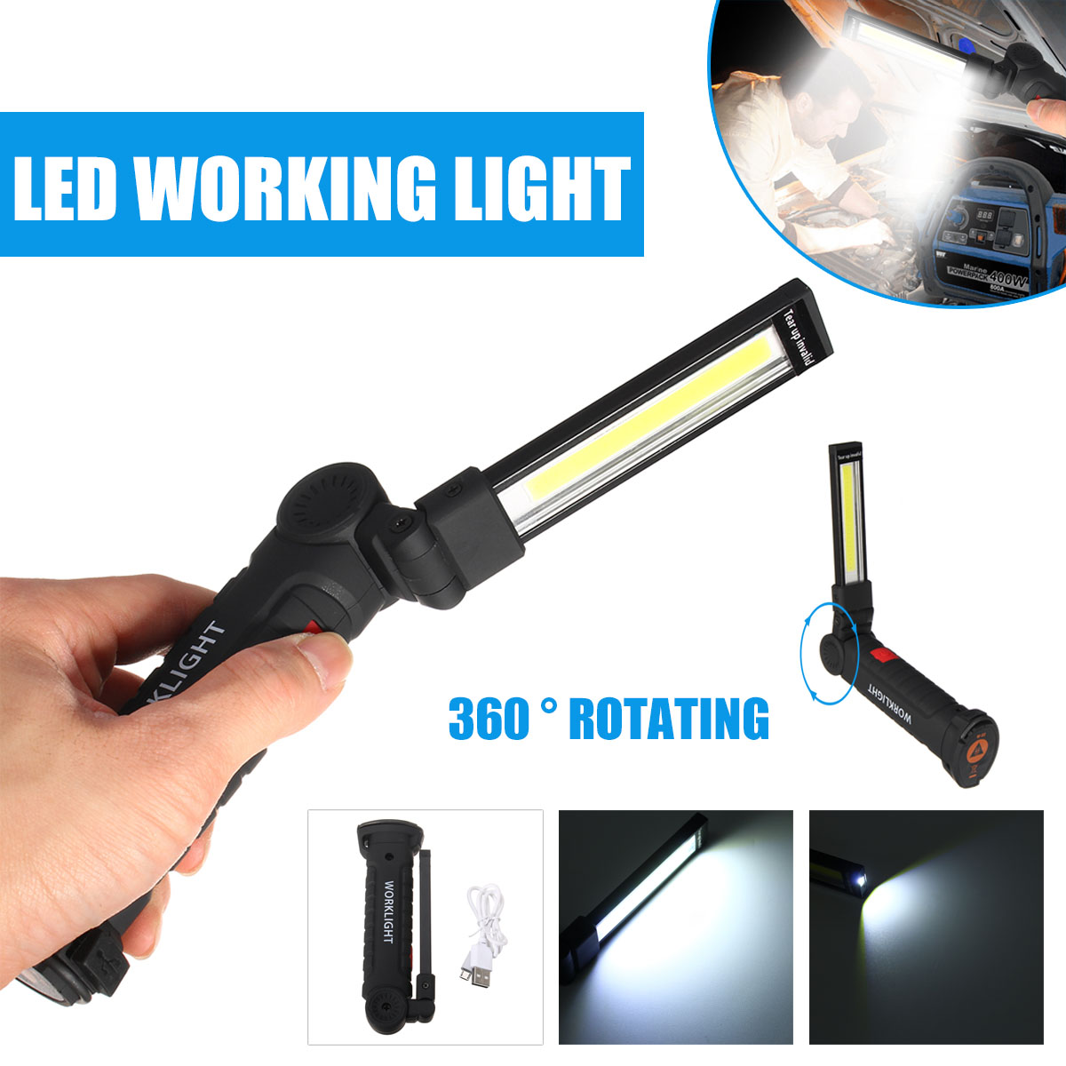 5 Mode Portable USB Rechargeable Flashlight COB LED Work Light Magnetic COB Lanterna Torch Hanging Hook Lamp For Outdoor Camping portable cob flashlight torch usb rechargeable led work light magnetic cob lanterna hanging lamp for outdoor camping