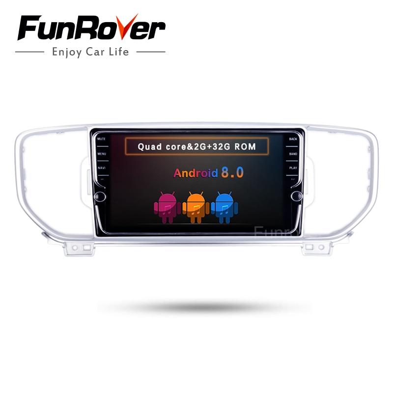 Funrover IPS Android 8.0 Autoradio DVD multidia Lecteur fit KIA Sportage kx5 2016 2017 commande au volant magnétophone WIFI
